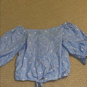 off the shoulder daisy stripe blouse